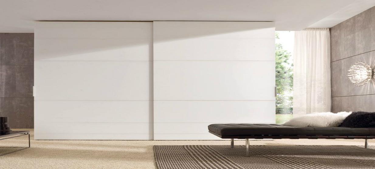 ארון הזזה 2 דלתות דגם אמסטרדם מלמין בצבע לבן