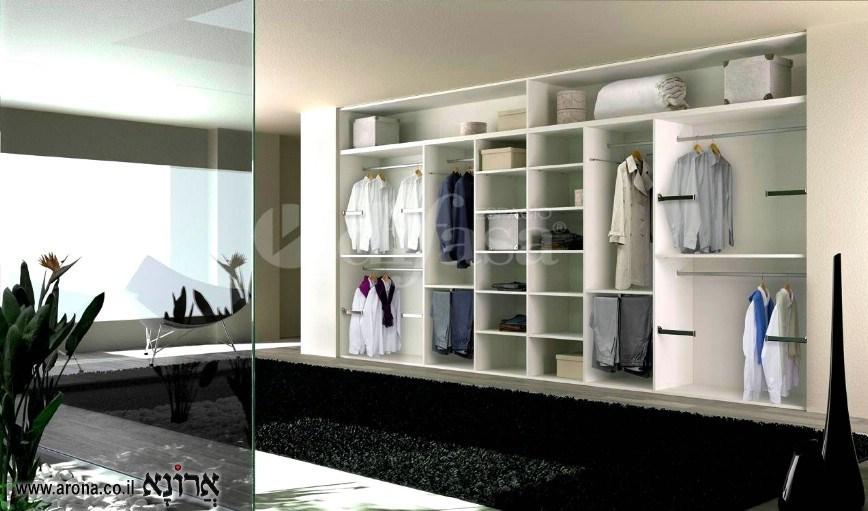 חדר ארונות לבן משולב