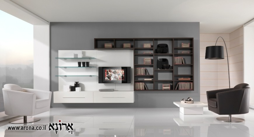 ספריה מודרנית מעץ לסלון